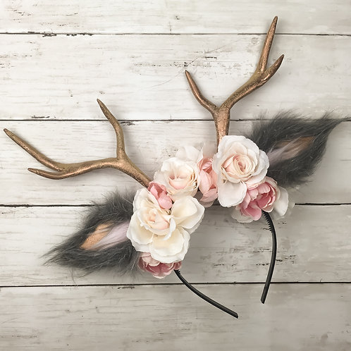 Rose Gold Handmade Antler Headband