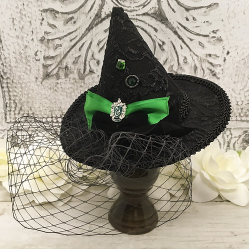 Serpent Crest Veiled Mini Witch Hat