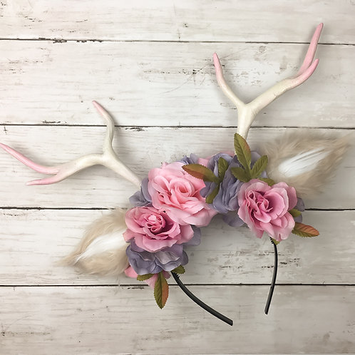 Pretty in Pink Handmade Antler Headband