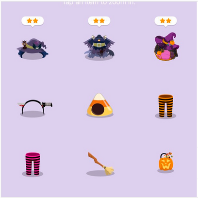 Halloween clothing and accessories for LINE PLAY app