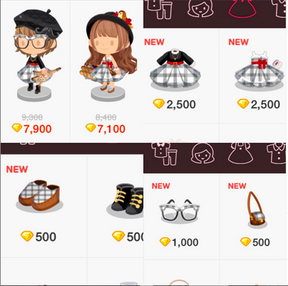 Checkered clothing and accessories for LINE PLAY app