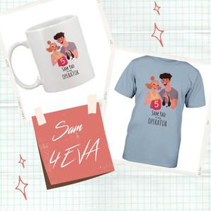Tote, mug, and shirt design for SixToStart