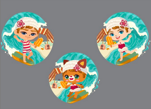 Beach theme clothing and accessories for LINE PLAY app