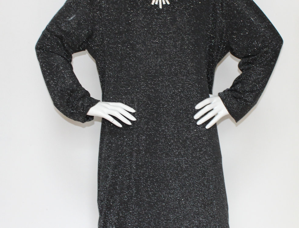 Black Silver Plus Size Dress