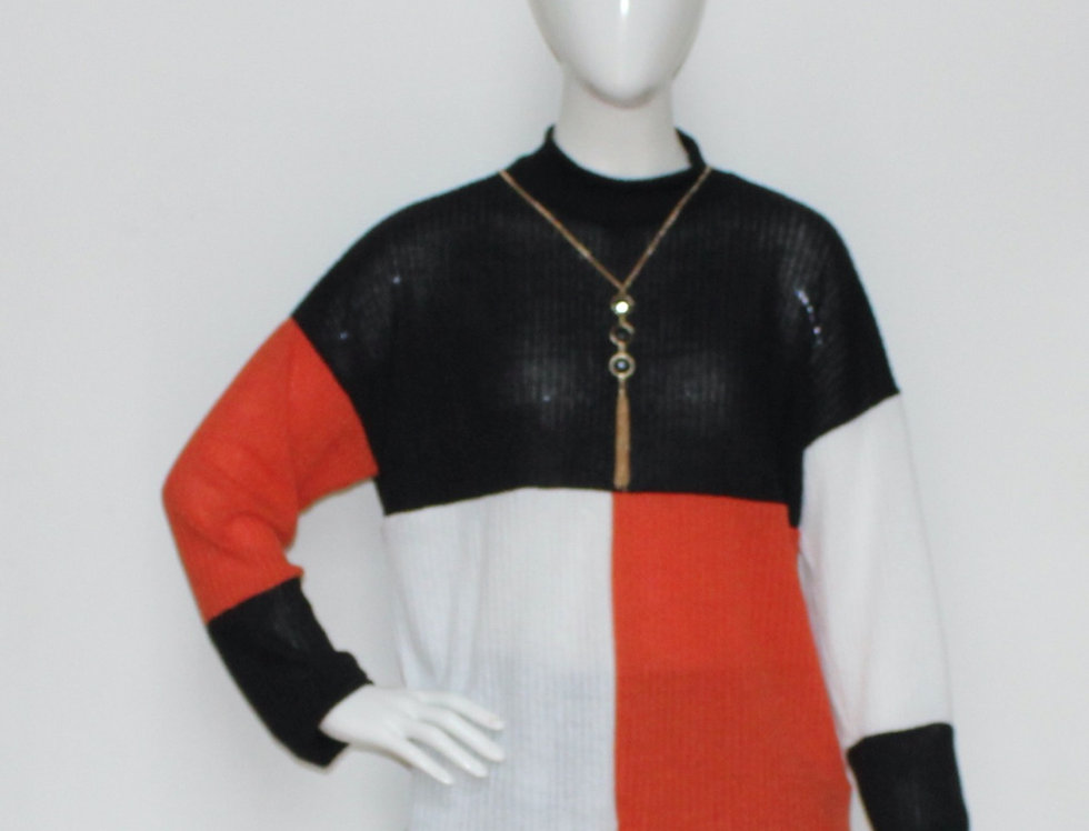 Colorblock High Neck Top