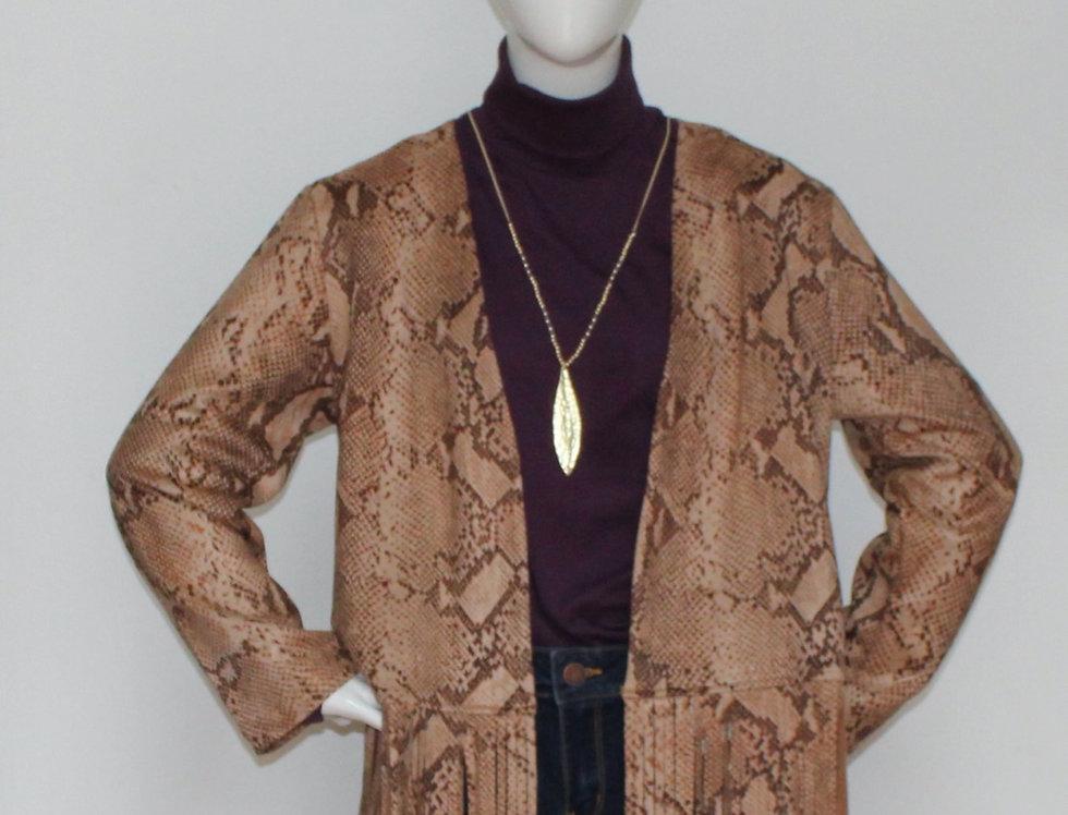 Brown Snake Print Fringe Jacket