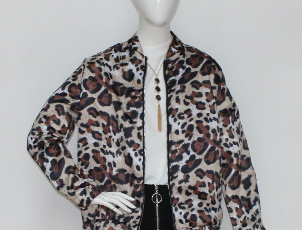 Leopard Zipper Casual Jacket