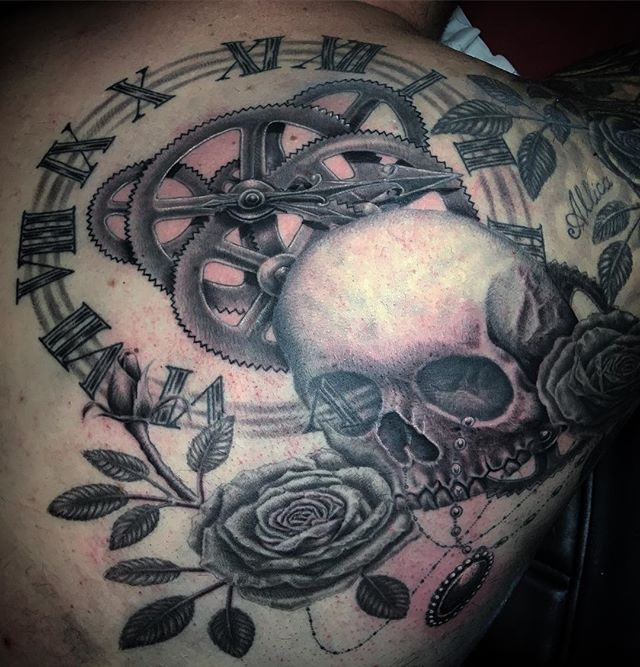 Almost done, background next #skulltattoo #rosetattoo #romannumeralstattoo #clocktattoo #cogs #time