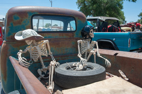 Skeletons in the back at the Run to Raton Annual Event, Raton, NM - Raton, New Mexico