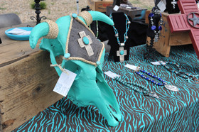 A turquoise cow skull at the Gate City Music Festival, Raton, NM - Raton, New Mexico