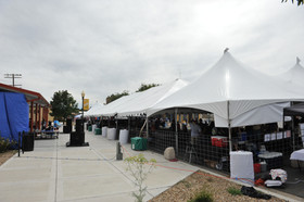 Vendor tents lined up and ready for visitors at the Gate City Music Festival, Raton, NM - Raton, New Mexico
