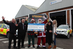 The Slatyford bus depot drivers with Blo