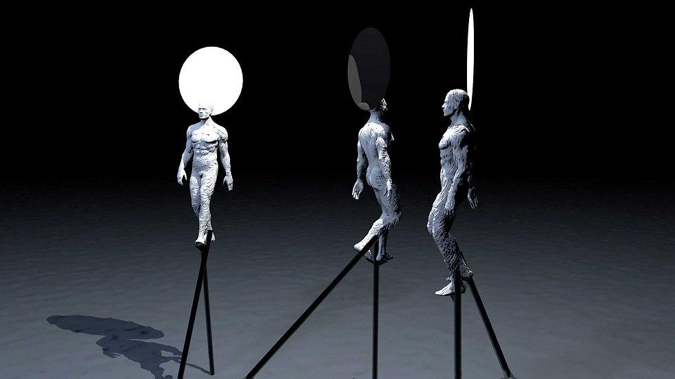 Three Stilt Walkers
