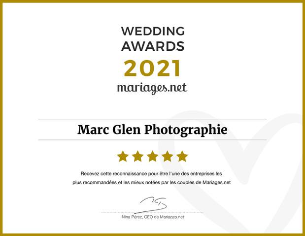 Marc Glen Photographie obtient le Wedding Awards 2021 de Mariages.net, en reconnaissance à son talent et à son professionnalisme après une année difficile pour le secteur nuptial. 