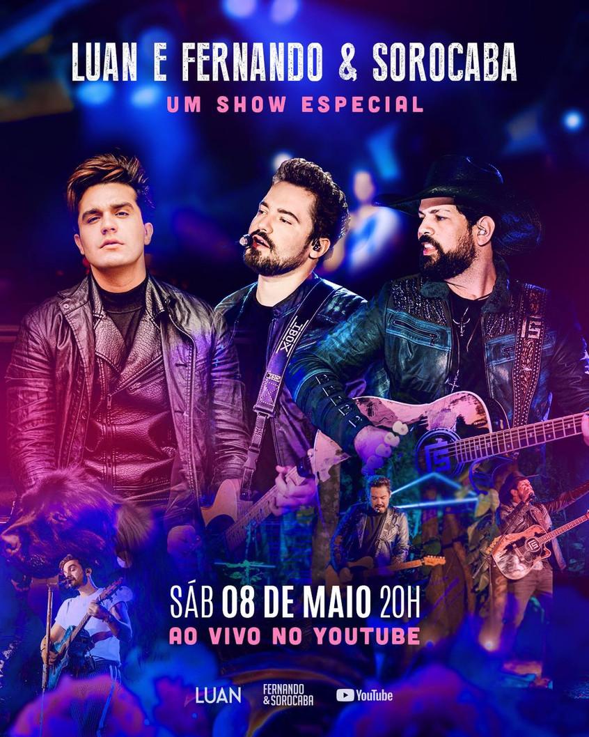 Luan Santana anuncia show especial com a dupla Fernando e Sorocaba