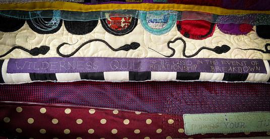 Wilderness Quilt Hand Embroidered Warning Label