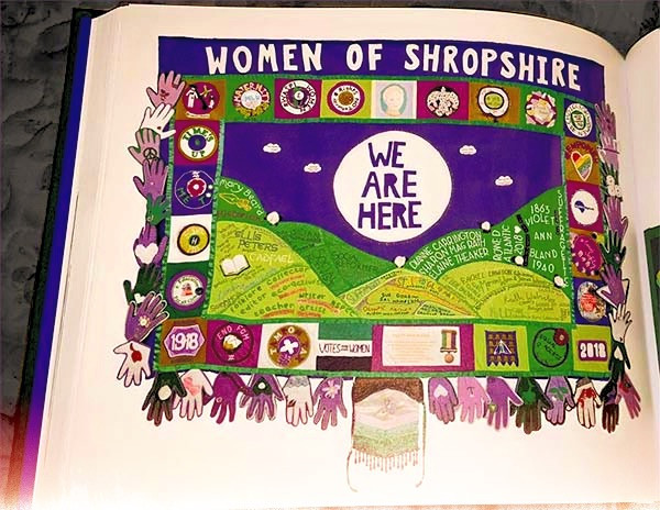 The large Shropshire banner encouraged by Anne Marie Lagram is showcased in this book.