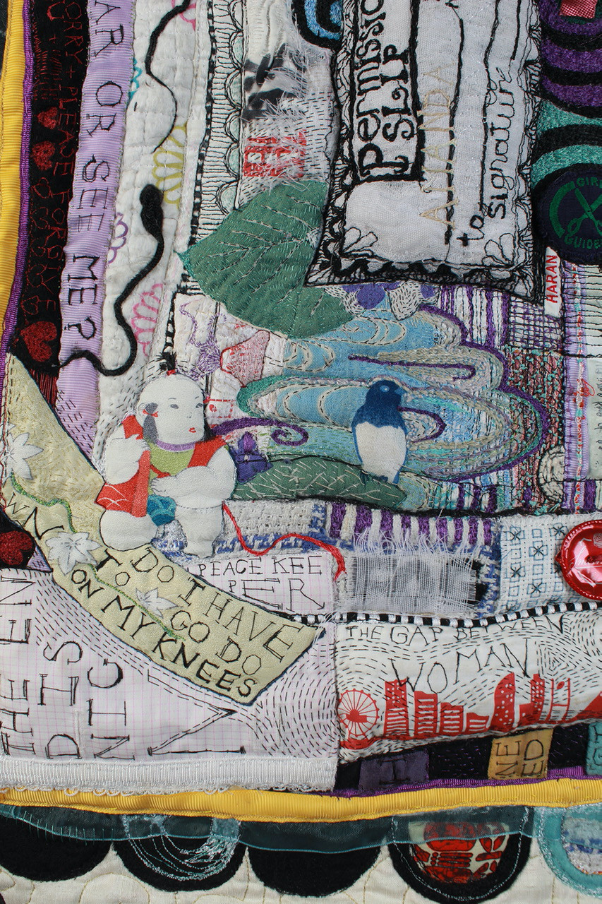 Wilderness Quilt Showing Detail of Repurposed and Stitched Items - Amanda Haran