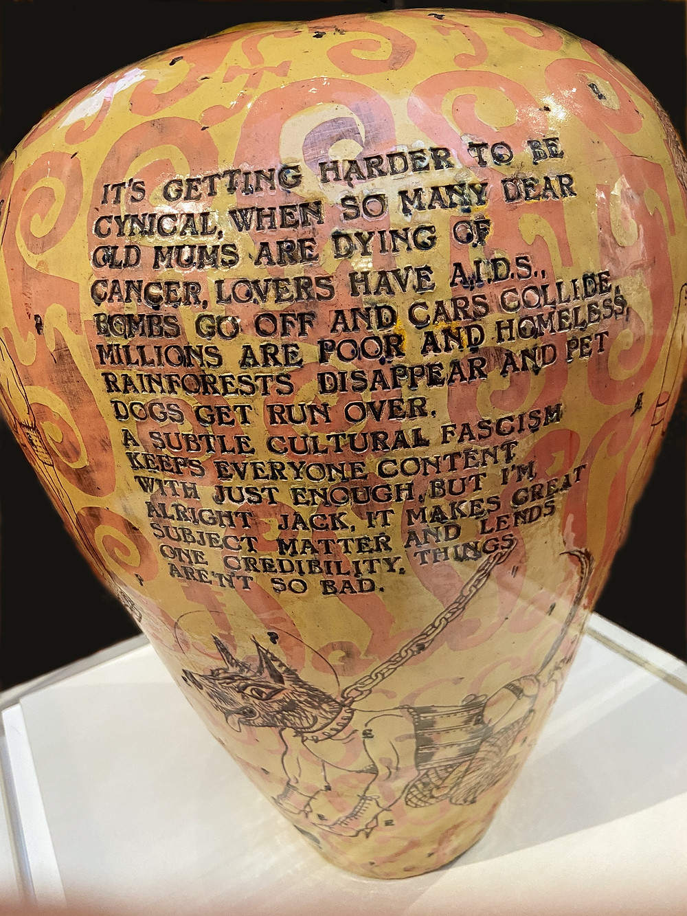 Detail of a Grayson Perry vase in the Holburne Gallery, Bath, 2020