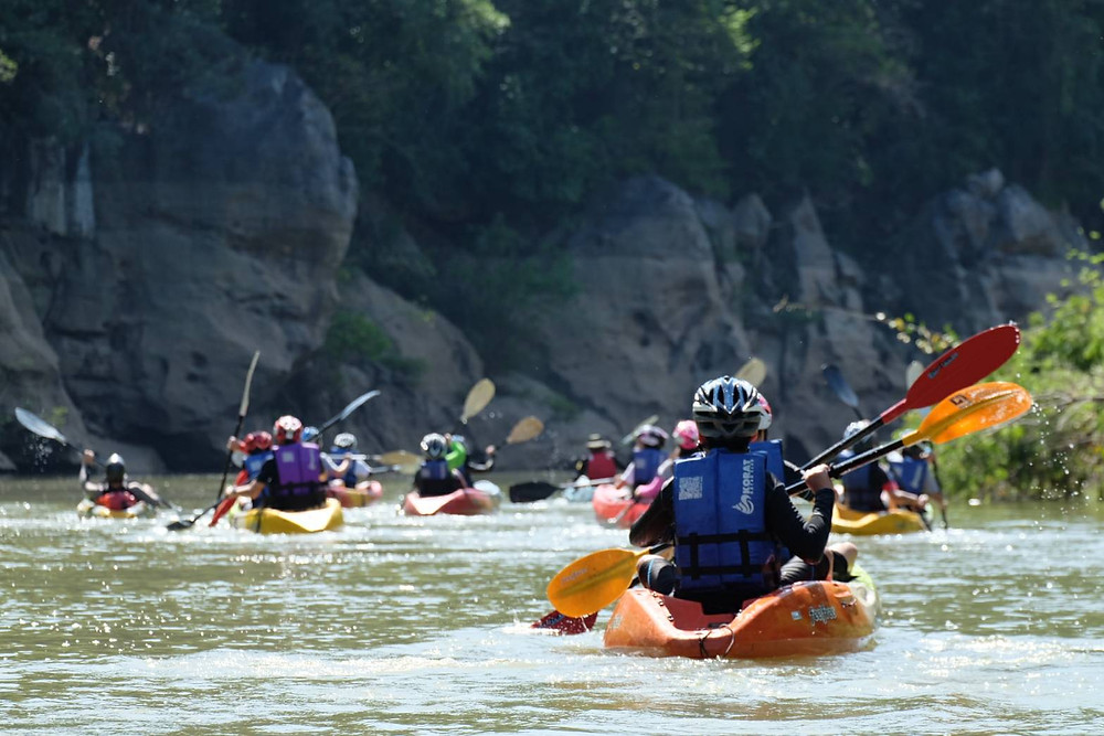Children kayaking during an outdoor education camp with an outdoor education provider.