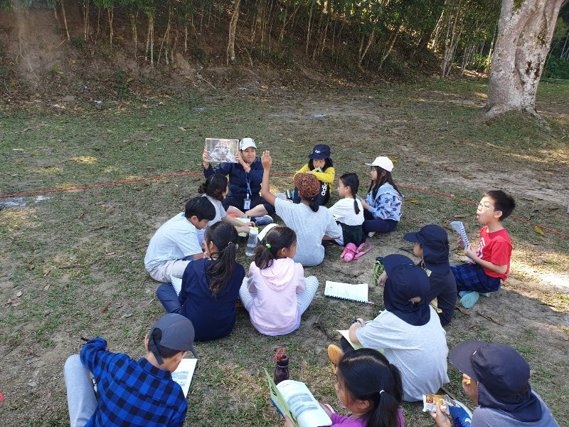 Children sitting on the grass playing an environmental education game on conservation and biodiversity.