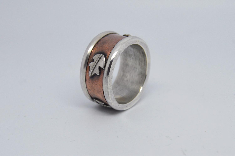 Silver & Copper Leaf Ring