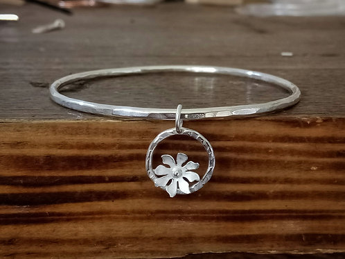 Textured Bangle with Flower