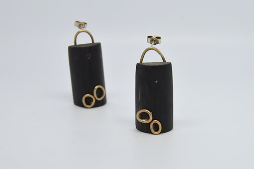 Black and Gold Horn Earrings