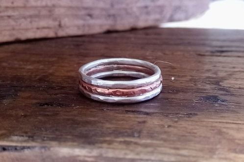 Two-tone textured Ring
