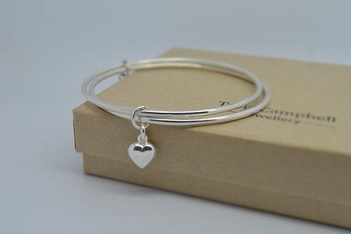 Silver Heart Charm Bangle