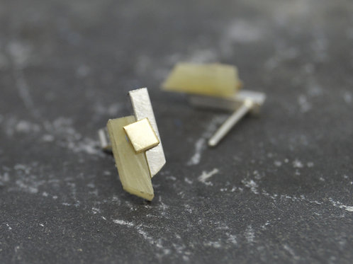 Small Horn Panel Earrings with Gold