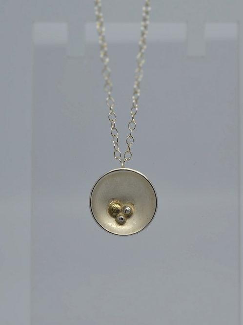 Domed Pendant with gold