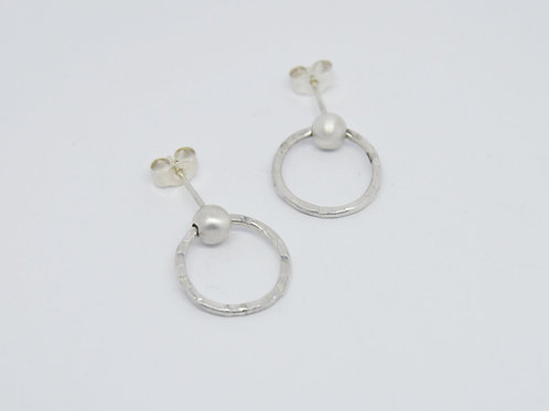 Silver Two Tone Textured Earrings