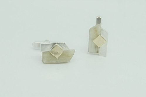 Horn Panel Cufflinks with Gold
