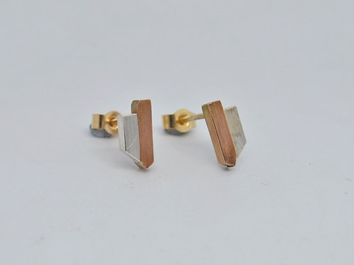Silver & Gold Panel Studs