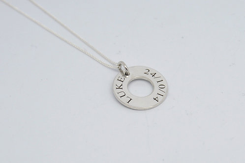 Personalised Silver Disc Pendant