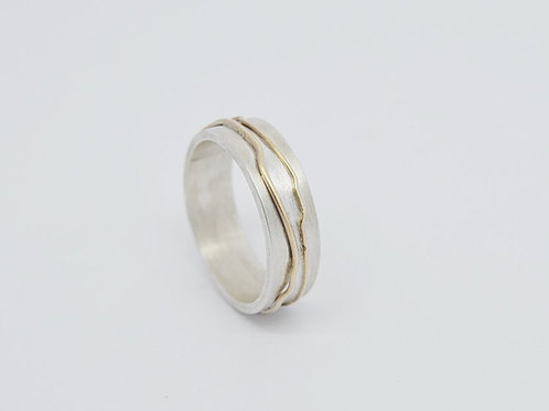 Silver & Gold Double Land Ring