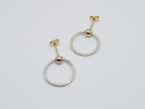9ct Gold & Textured Silver Circle Earrings