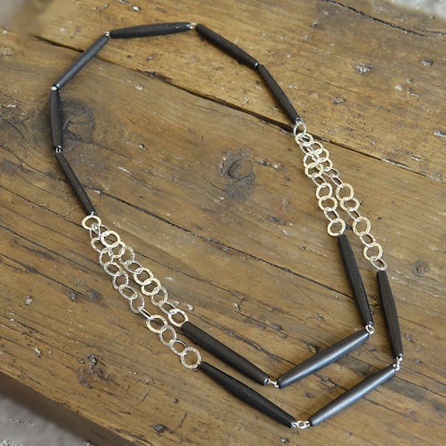 Buffao hammered circle necklace