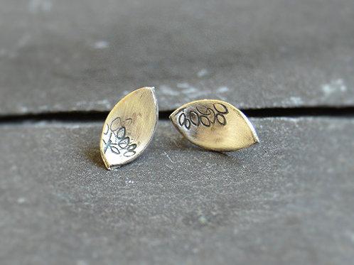 Silver Leaf Studs (oxidised)
