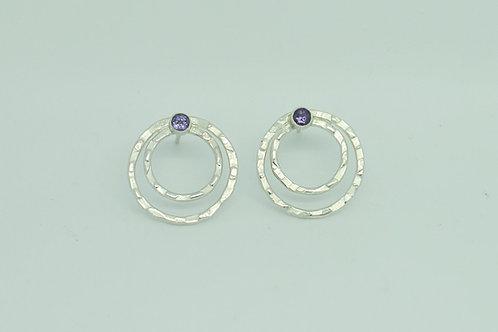 Hammered Earrings wth gem set