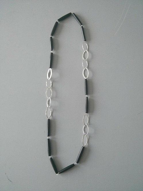 Buffalo Horn & Silver Oval Necklace