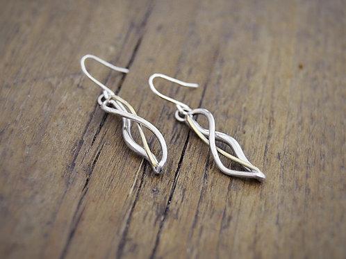 Silver& Gold Breeze earrings on hooks