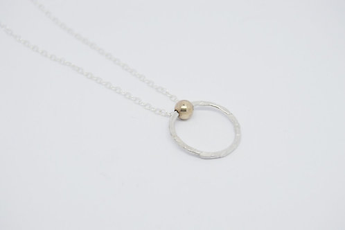 9ct Gold & Textured Silver Circle Pendant