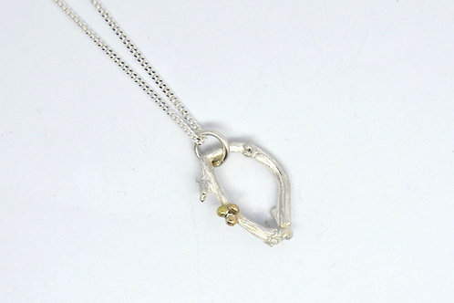 Smaller Twig Pendant with Gold