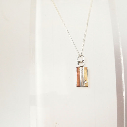 Small Gold & Silver Panel pendant with Diamond