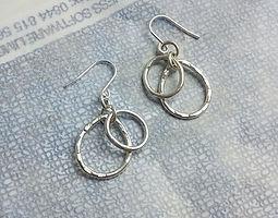 oval &pear silver hook earrings
