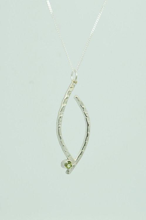 Textured Pendant with Gemstone