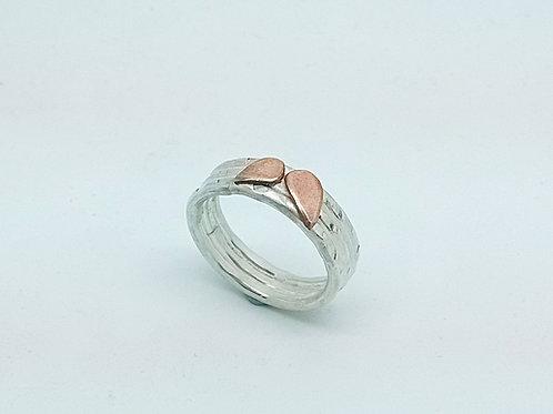 Textured Copper Petal Ring