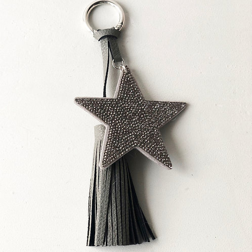 Italian leather star tassle keyring